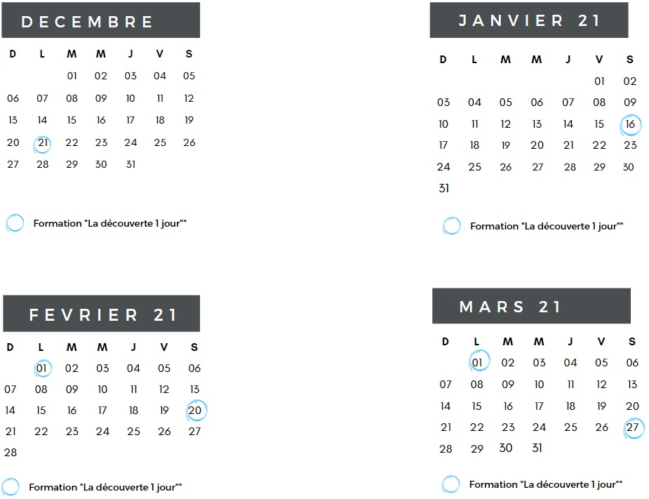 Calendrier formations 1 Jour
